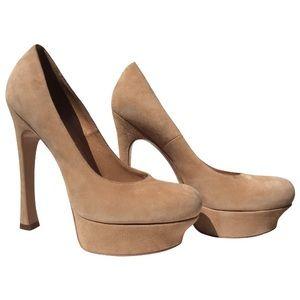 YSL Palais Peep Toe Platform heels Suede Tan US9